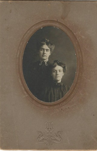 Mag on the right, sister Lucy on the left